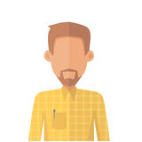 Young Man Private Avatar Icon. Young man in yellow shirt with beard. Social networks business private users avatar pictogram. Isolated vector illustration on Royalty Free Stock Photography