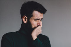 Young man with a problem. Crying Royalty Free Stock Photo