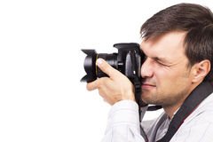 Young man with professional camera Stock Photography