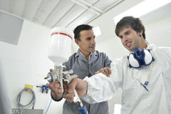 Young man in professional training Stock Photography