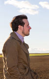 Young Man Profile in the Field Royalty Free Stock Photography