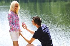 Young man proposal Stock Photography