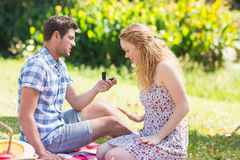 Young man propose to girlfriend Royalty Free Stock Photo
