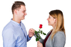 Young man proposing stock photography