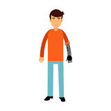 Young man with prosthetic arm colorful  Illustration. On a white background Stock Photography