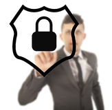 Young man with protection shield isolated Royalty Free Stock Photography