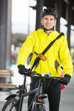 Young Man In Protective Gear With Bicycle Stock Image
