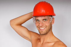 Young man in a protective helmet and goggles Stock Image