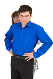 Young man protects the woman Royalty Free Stock Images