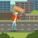 Young man protesting with banner demanding for political freedom flat vector illustration Stock Images