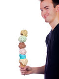 Young man proudly displays a six scoop ice cream c Stock Image