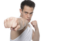 Young Man Punching Stock Photos