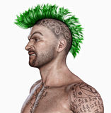 Young man  with a punk hair style and tattooes. A young aggressive looking man with a punk hair style . body covered with tattooes Stock Image