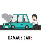 Young man pushed the car can not drive. With tiredness. Flat vector illustration design Royalty Free Stock Photography