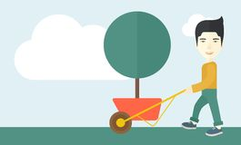 Young man pushing the cart with tree vector illustration