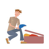A young man puts things in a suitcase. Vector illustration, isolated on white. Stock Images