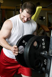 Young man putting weights on bar Stock Images