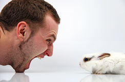 Young man and a rabbit on white background Stock Image