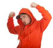 Young man with raised arms Royalty Free Stock Photos