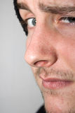 Young man with raised eyebrow. And stubble Stock Image