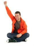 Young man  with raised hand Stock Image