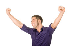 Young man with raised hands Royalty Free Stock Photos