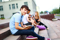 Young man read book Stock Photo
