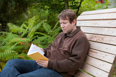Young man reading book on bench in autumn forest Stock Photography