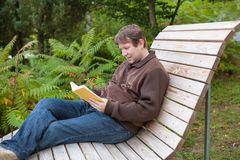 Young man reading book on bench in summer forest Stock Photography