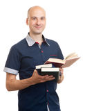 Young man reading a book. Isolated Stock Photo