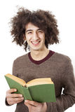 Young man reading book on white background Royalty Free Stock Photography