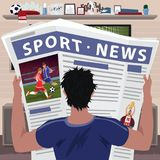 Soccer fan reading sports news. Young man reading sports news in newspaper. Football fan interesting in results of soccer game. Realistic cartoon style vector illustration
