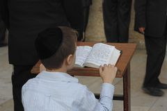 Young man reading from the Toran during Shabbat in Jerusalem Royalty Free Stock Photography