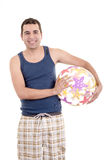 Young man ready for the beach, with ball isolated Stock Image