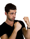 Young man is ready to box.  Royalty Free Stock Photos
