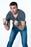 Young man is ready to brawl Stock Photography