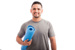 Young man ready for yoga class Stock Photography