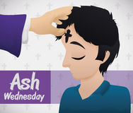 Young Man Receiving the Blessed Cross on Ash Wednesday, Vector Illustration. Poster with young man receiving the ash cross from the priest on Ash Wednesday Royalty Free Stock Image