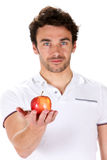 Young man with a red apple Stock Photo