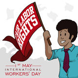 Young Man with Red Flag Commemorating Workers' Day, Vector Illustration Royalty Free Stock Images