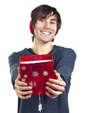 Young man with a red gift bag Royalty Free Stock Photo
