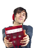Young man with a red gift bag Stock Photos