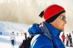 Young man in a red hat Royalty Free Stock Image