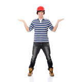Young man in red helmet Royalty Free Stock Photography
