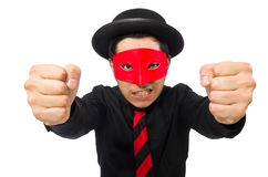 Young man with red mask isolated on white Royalty Free Stock Image