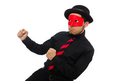 Young man with red mask isolated on white Royalty Free Stock Photo