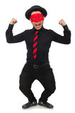 Young man with red mask  on white Royalty Free Stock Images