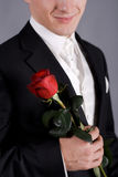 Young man with a red rose Stock Photography