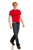 Young Man in Red Shirt Royalty Free Stock Photo