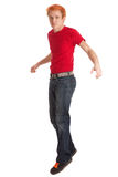 Young Man in Red Shirt Royalty Free Stock Photos